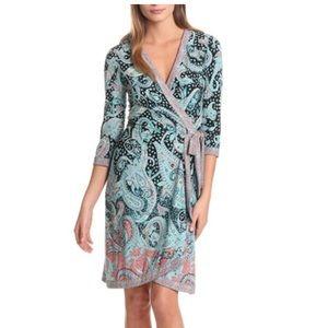 BCBG MaxAzria Paisley Adele Jersey Wrap Dress S